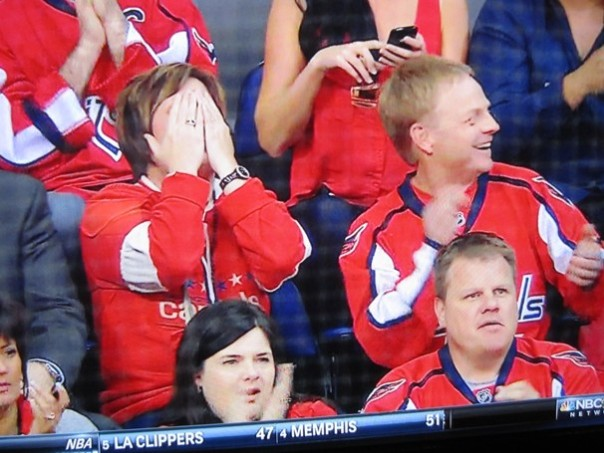 Watching her son play, Momma Holtby regularly goes from hiding, to jumping, to fist pumps.  There's got to be a drinking game here somewhere.