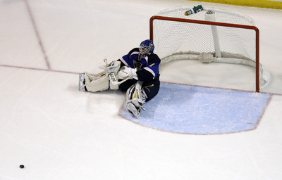 "Using ""The Force,"" Brian Elliot has been able to deploy a mental force-field around the Blues goal this season, causing pucks to stop well outside any danger areas.  Here he displays the ""Sitting Five-Hole"" move."