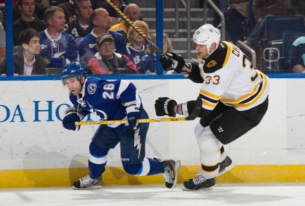 Marty St. Louis shows here that he still has great speed and moves  as he skates away from a monster