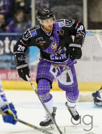 Scottish hockey team 'Braehead Clan' wearing kilt themed jerseys for St.Andrews Day.