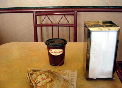 Ah, yes... the Williams Lake Vinny Table at Horty's misses it's regular and singular attendee ever since he transferred the franchise to Quesnel. His weekly order of small coffee (6 cream) and an onion bagel with blueberry cream cheese is his lasting legacy.