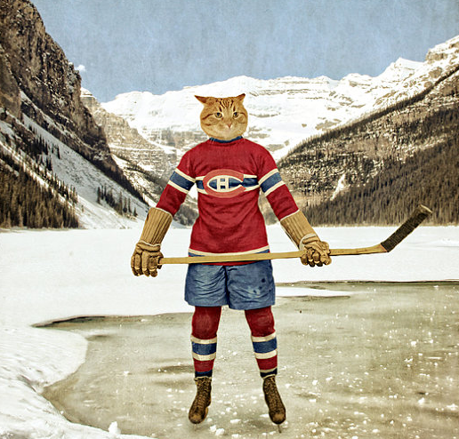 Nothing says Christmas like a vintage print of a Hab cat skating on Lake Louise